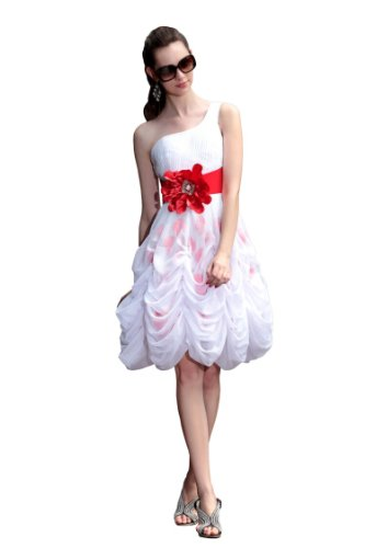 CharliesBridal White One Shoulder Knee Length Prom Dress with Flower - L - White