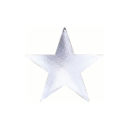 9 Inch Foil Star Silver Package of 5