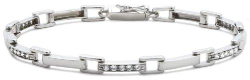 Cubic Zirconia Square Link Bracelet, 9ct White Gold, 18cm Length, Model 5.21.9791