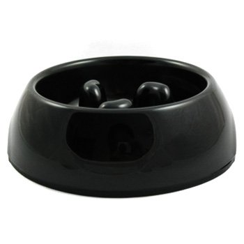Slow-Eating Anti-Gulping Food Bowl (for Dogs & Cats) - Black, Medium