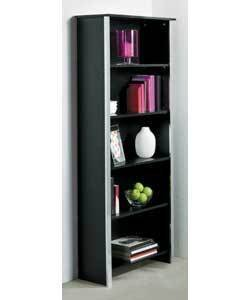 Black and Chrome Modern Tall Bookcase with 5 Shelves