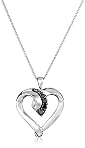 Sterling Silver Black Diamond Heart Pendant Necklace (1/4 Cttw), 18