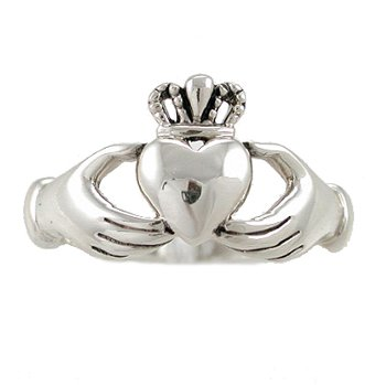 Irish Friendship & Love Claddagh Band Ring in Sterling Silver, Size 7, #2601