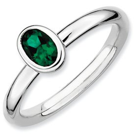 Genuine IceCarats Designer Jewelry Gift Sterling Silver Stackable Expressions Oval Created Emerald Ring Size 8.00