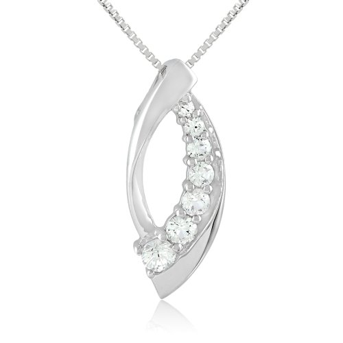 Sterling Silver Shades of Created White Sapphire Journey Pendant Necklace, 18