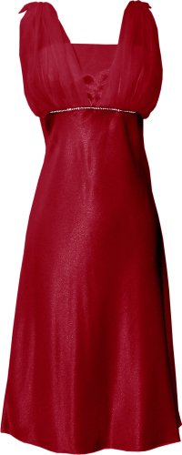 Satin Chiffon Prom Dress Holiday Formal Gown Bridesmaid Crystals Knee-Length Junior Plus Size, Small, Red