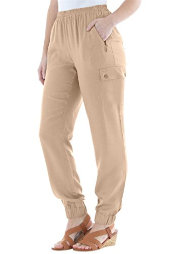 Jessica London Womens Plus Size Tencel Cargo Pants