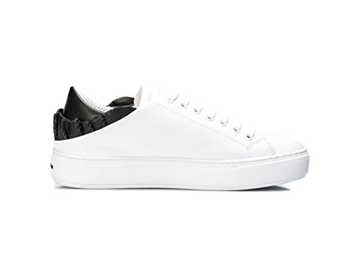 Sneakers in pelle con rouches nera Bianco, 35 MainApps