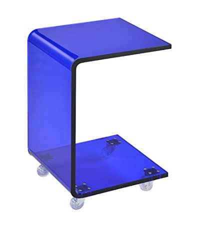 Fox Hill Trading Pure Décor Acrylic C-Shape Accent Table, Blue