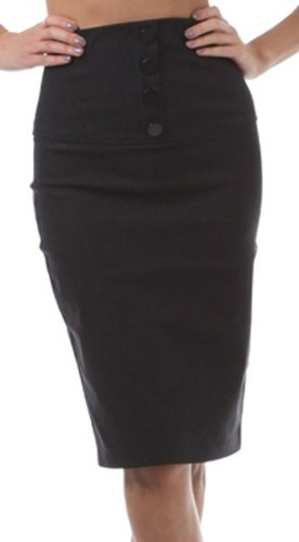 IMHighButtonI-9415 Petite High Waist Stretch Pencil Skirt with Four Button Detail - Charcoal / L