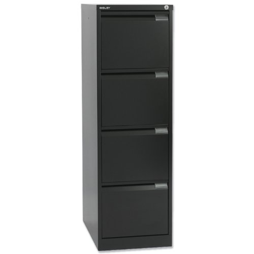 Bisley BS4E Filing Cabinet Flush-front 4-Drawer W470xD622xH1321mm Black Ref BS4E-33
