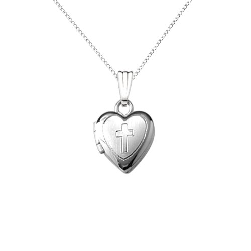 Sterling Silver Children's Hand Engraved Cross Heart Locket Pendant Necklace , 13