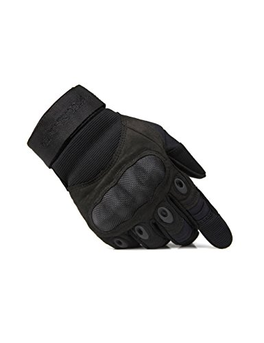 FREE SOLDIER Outdoor Men Military Hard Knuckle Full Finger Glove Tactical Armor Gloves (Medium, Black)