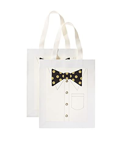 S.E. Hagarman Set of 2 Medium Glitzy Gift Bags, Black and Gold Polka Dot Bowtie