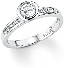 S.Oliver Jewels SO729/03 - Anillo de plata de ley con circonita, talla 16 (17,84 mm)