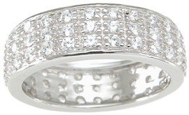 Designer Style Sterling Silver Wedding Band Eternity Anniversary Ring Size 6 (Sizes 5-9 Available)