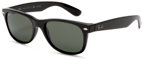 Ray-Ban RB2132 Polarized New Wayfarer Sunglasses,Black Frame/Polarized G-15 XLT Lens,55 mm
