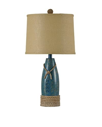 StyleCraft Coastal 1-Light Table Lamp With Trimmed Hardback Shade, Sea Blue