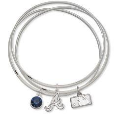 MLB Officially Licensed Atlanta Braves Bangle Bracelet Set W/ Blue Crystal
