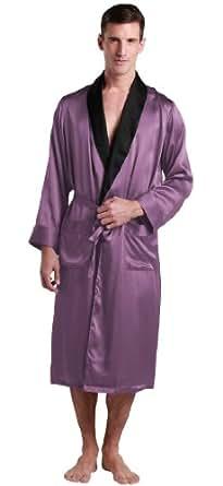 lilysilk robe de chambre en soie pyjama homme longue xxl violet v tements et. Black Bedroom Furniture Sets. Home Design Ideas