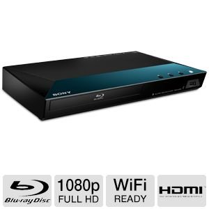 Sony Blu-ray Disc Player With Full HD 1080p Resolution, Built-in 2.4 GHz Sony Super Wi-Fi, DVD Upscaling to Near HD Quality, Access to the Sony Entertainment Network, Dolby TrueHD & DTS-HD Master Audio, Front Panel USB Media Player, Digital Coaxial Audio Output, Plus Sony 6Ft High Speed HDMI Cable