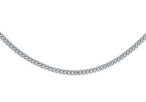 18ct White Gold Unisex Diamond Cut Curb Chain of 56cm