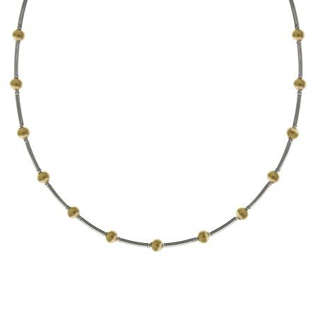 Vermeil (24K Gold over Sterling Silver) and Sterling Silver Two Tone Bar and Bead Necklace