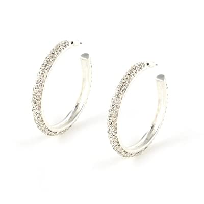 Silver Crystal Hoop Earrings||RF20F