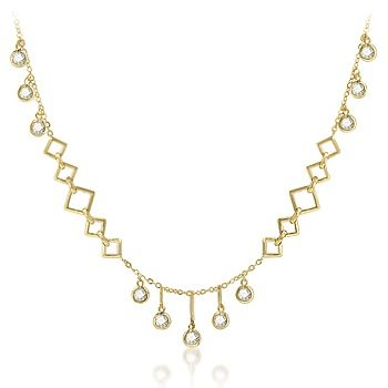 14k Gold Bonded Teardrop Necklace with Round Cut Clear Cubic Zirconia