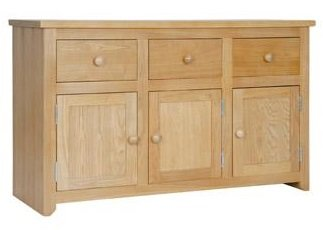 HAMILTON MELLOWED OAK FINISH 3 DOOR 3 DRAWER SIDEBOARD FROM CENTURION PINE