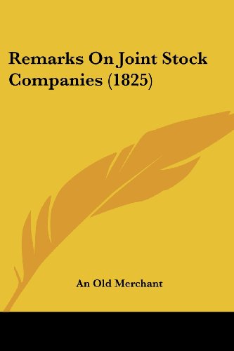 Remarks on Joint Stock Companies (1825)