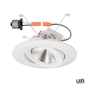 Commercial Electric 6 In Recessed White Gimbal LED Trim Recessed Light Fix