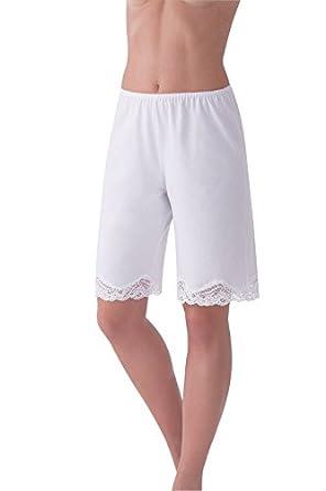 Under Moments Women's Cotton Pettipants Pant Slip, Lace Trim Blanco / White Small
