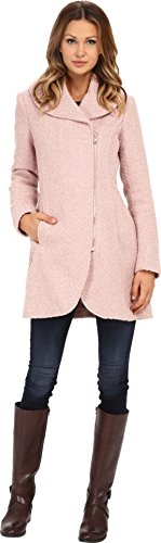 Jessica Simpson Womens Asymmetrical Braided Wool Coat with Shawl Collar