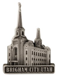 LDS Mens Brigham City Utah Temple Silver Steel Tie Tac / Tie Pin for Boys