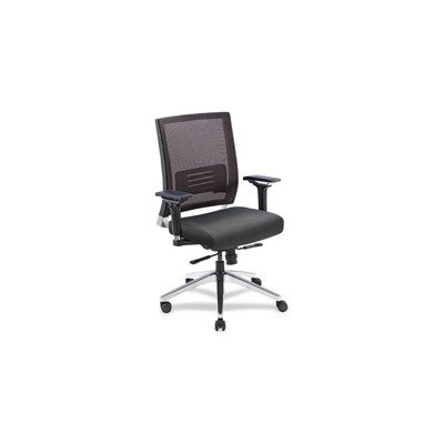 Lorell Executive Swivel Chair, 28-1/2 by 28-1/4 by 43-1/2-Inch, Black Mesh/Leather
