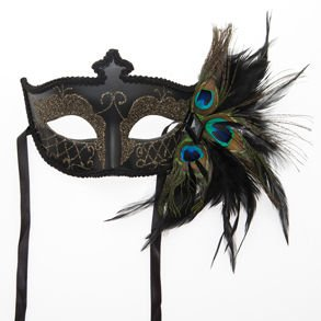 Black Venetian Half Feather Mask
