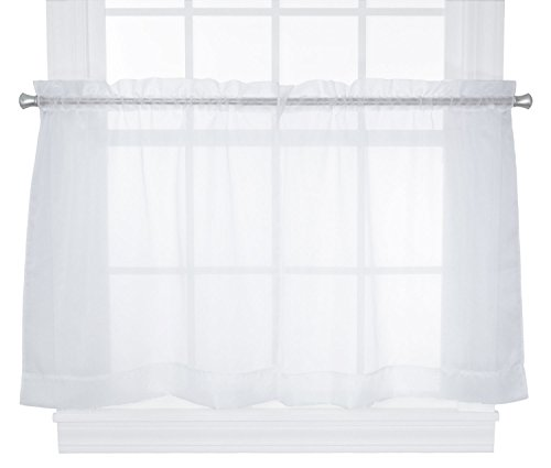 Ellis Curtain Jessica Sheer Tailored Tier Curtains, 54 by 24-Inch, White