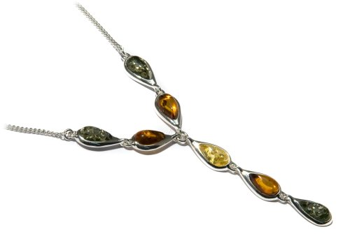 Sterling Silver Multi-Color Amber Teardrop Link Necklace