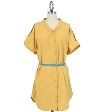 Mustard Seed Collard Button Down Dress with Belt in Yellow, Small