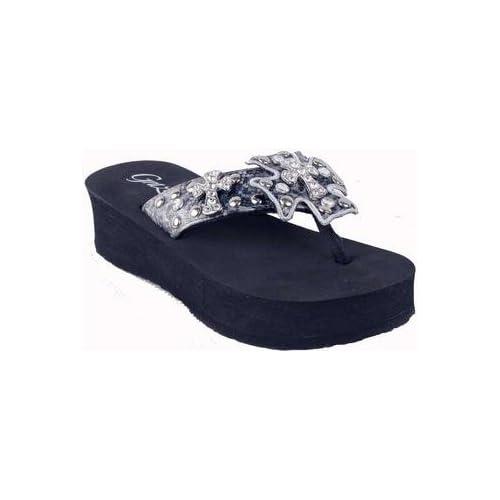 Amazon.com: Grazie Flip Flops Lavida Pewter Clear Crystals