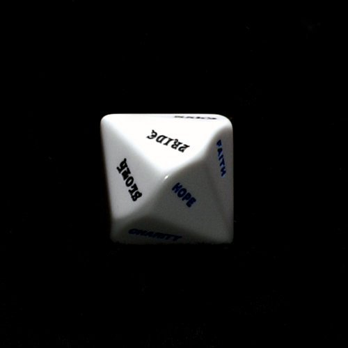 28mm Opaque White D14 7 Virtues & 7 Sins Dice by Koplow Games