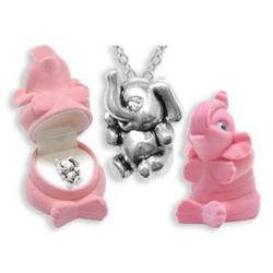 ELEPHANT Crystal Necklace in Pink Elephant Gift Box