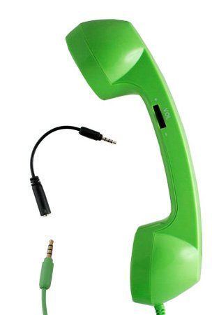 Hhi Reelegant Universal 3.5Mm Retro Phone Handset And Answering Button For Mobile Cellular Phones & Tablets - Green (Compatible With Iphone, Blackberry, Ipad, Macbook, Pc And More) (Package Include A Handhelditems Sketch Stylus Pen)