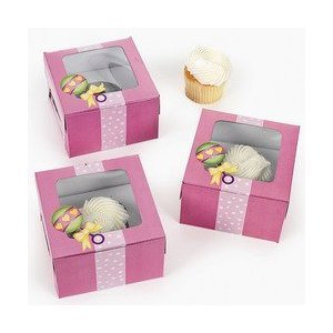 Dozen Cardboard Baby Girl Shower Cupcake Boxes