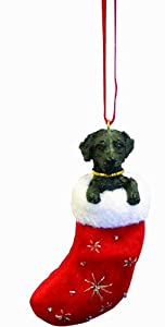 "Black Labrador Christmas Stocking Ornament with ""Santa's Little Pals"" Hand Painted and Stitched Detail"
