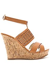 Soho Shoes Women's Ankle Strap Wedge Sandal All Sizes BROWN 6