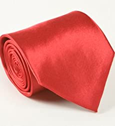 Classy Men's Solid Red Tie and Hankie Set