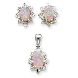 Sterling Silver Created Opal and CZ Pendant and Earring Set - JewelryWeb