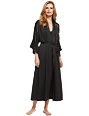 Autograph Floral Lace Satin Belted Wrap Dressing Gown MADE WITH SWAROVSKI® ELEMENTS